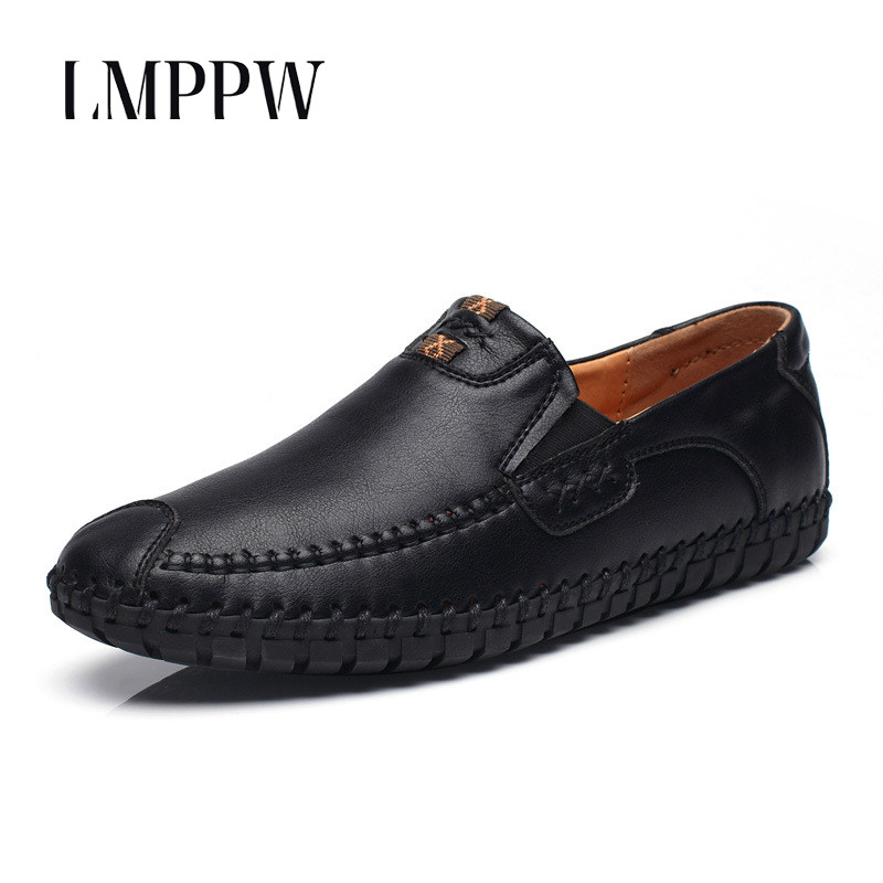 Genuine Leather Loafers 2017 Men Casual Shoes Leather Comfort Slip-on Loafers Fashion Breathable Men's Dress Party Shoes Black 8 branded men s penny loafes casual men s full grain leather emboss crocodile boat shoes slip on breathable moccasin driving shoes