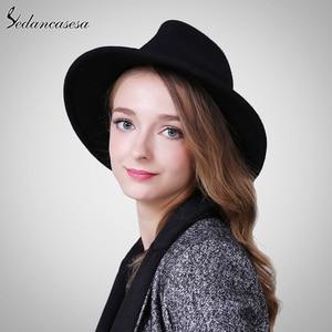 Image 2 - Sombrero Fedora para mujer, de lana, de alta calidad, de Australia, sombreros de fieltro para mujer, Otoño Invierno, mantiene el calor, sombrero Fedora de ala ancha, FM087004