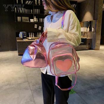 Cute Mini Backpacks   Clear Pink Transparent School Backpack Pvc Heart Leather White Mini Chic Waterproof Backpack Cute Schoolbag Girl Casual Bag