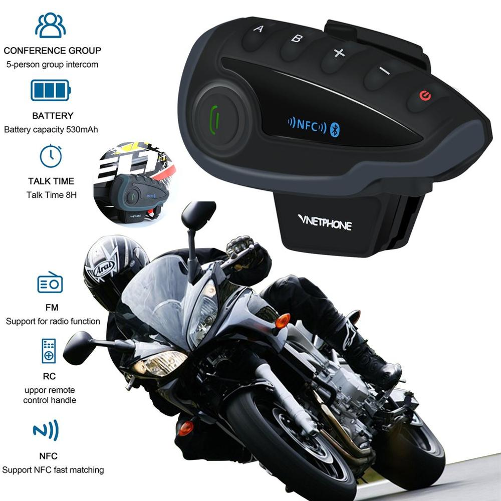 Cycling Full Duplex Walkie-talkie 5 People Smart Chip Wireless Motorcycle Helmet Walkie-talkie Fm Radio V8