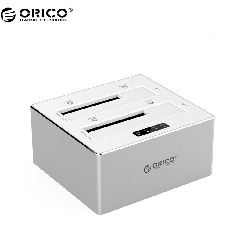 ORICO 6828US3-C-V1 Aluminum 2 Bay SATA 3.0 to USB 3.0 Hard Drive Docking Station/Duplicator for 2.5&3.5 HDD-Silver