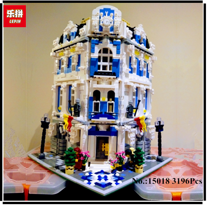 In Stock 3196 PCS LEPIN 15018 New MOC  City Series The Sunshine Hotel Set Building Blocks Bricks Compatible With 10196 цена и фото