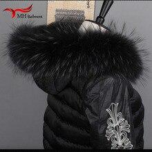 Bufanda piel grande cuello de piel de zorro para piel de mapache auténtica