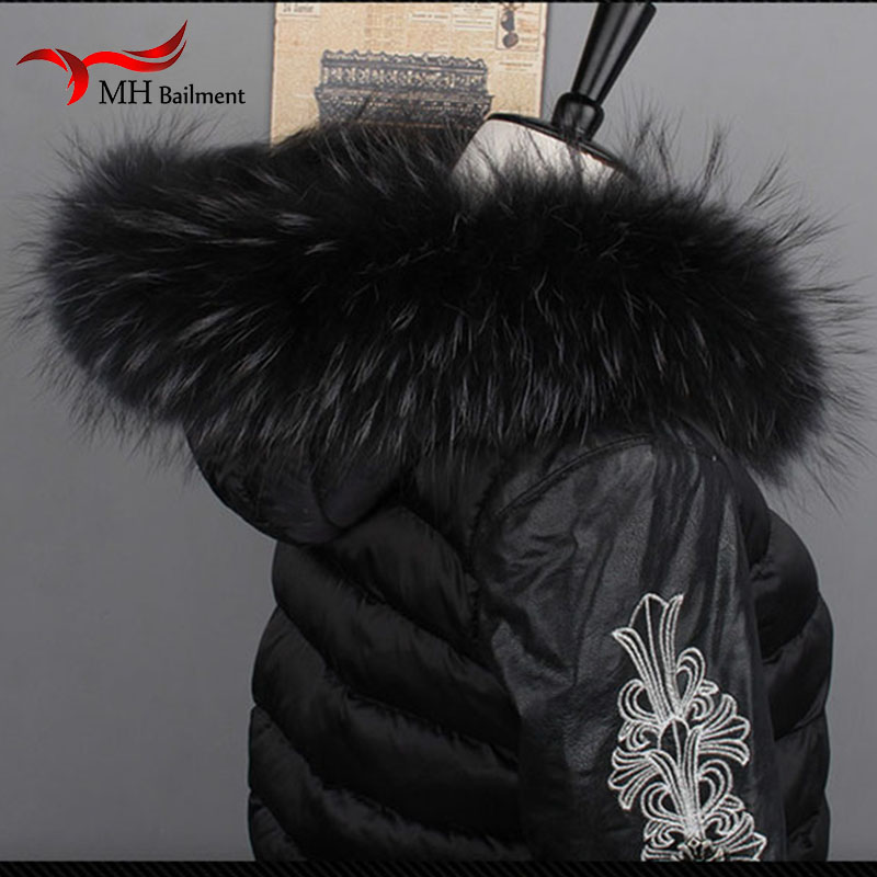 Women Fox Fur Collar Scarf Big Fur Collar Custom Made Hoodie Fur Trim Genuine Raccoon Fur Hood Trim Scarf Black Color