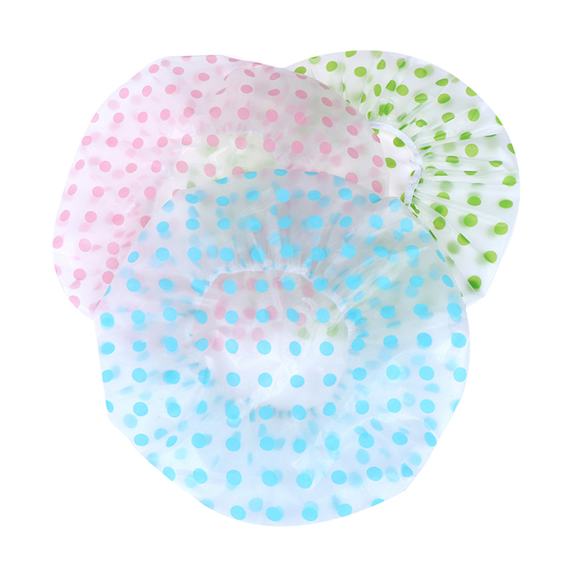 1PC 3 Color Dot Waterproof Shower Cap Thicken Elastic Bath Hat Bathing Cap For Women Hair Salon Bathroom Products 4