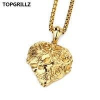 Persoonlijkheid Populaire Rose Bloemen Liefde Schedels Hiphop Ketting Hanger door TOPGRILLZ HIPHOP Tij Product Staal Mannen En Vrouwen