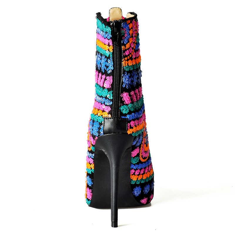 Hồng Lòng Bàn Tay Hot Nữ Thu Đông Giày Chắc Chắn Châu Âu Nữ Giày Nữ Sequine Giày Cao Gót Aankle Giày Bota Feminina