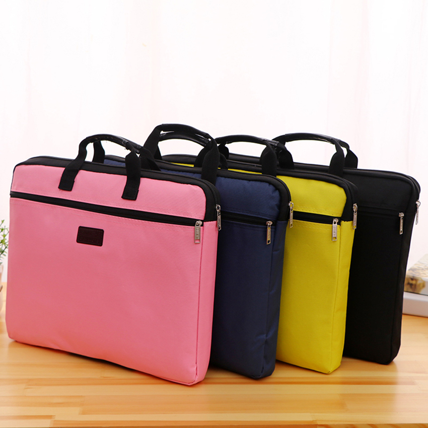 Canvas Zipper Handbag Paper Documents Storage Bag A4 File Folder Portable Briefcase Stationery Office Supplies Customize Logo