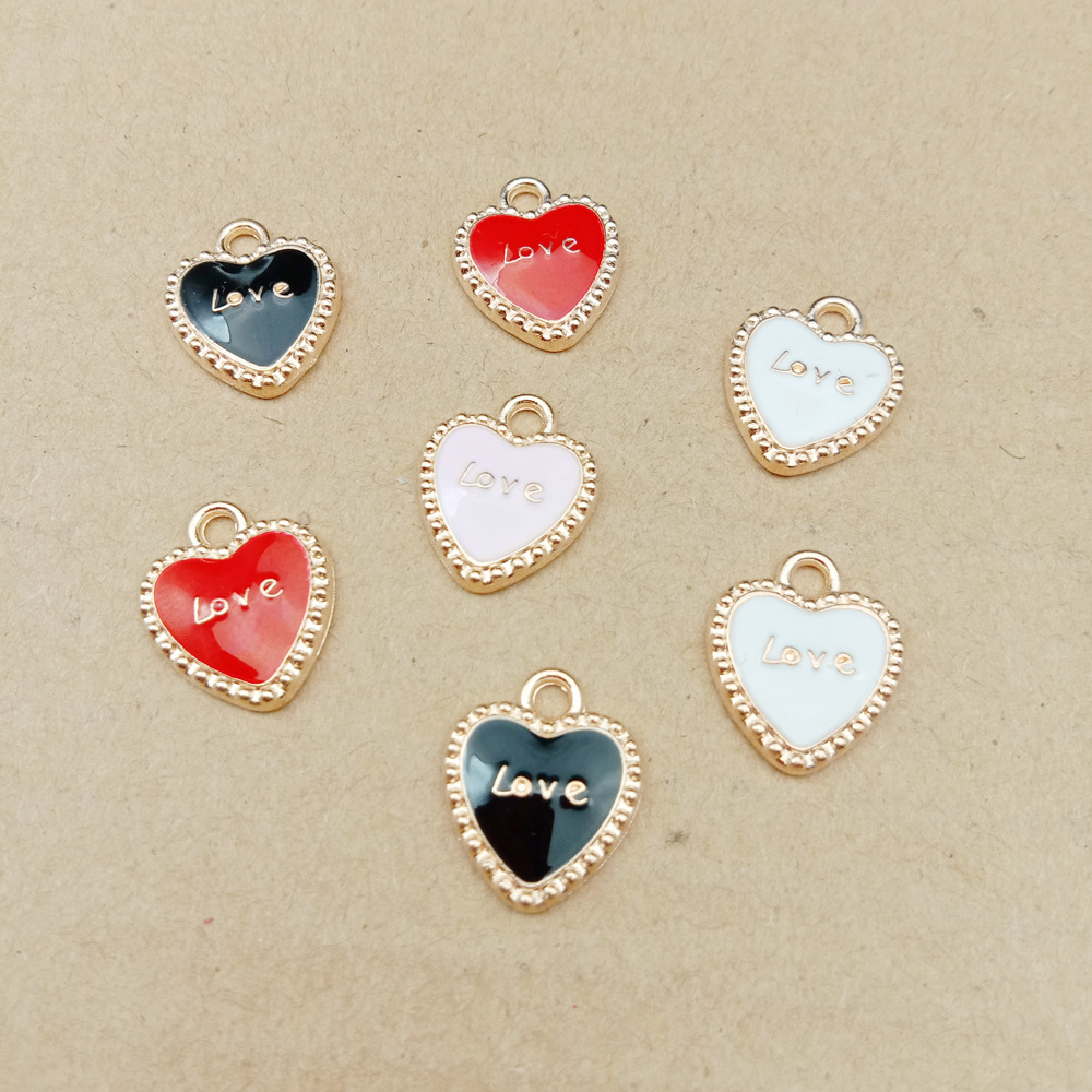 10pcs 13x16mm enamel heart charm Love charms earring charm for jewelry making fashion charm|Charms|   - AliExpress