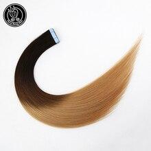 Лента для наращивания волос человеческие волосы на Клейкой Ленте на ПУ кожи Уток расширение Невидимый балаяж Омбре цвет 18 дюймов 2 г/шт. 40 г