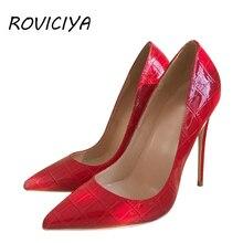 Red Women High Heel 12 cm Stilettos Wedding Valentine Brand Designer Shoes Patent leather Pointed Toe QP054 ROVICIYA