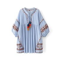 CFYH 2017 New Fashion Women Bohemian Floral Embroidery Dress Striped Colorful Tassel O Neck Puff Sleeve