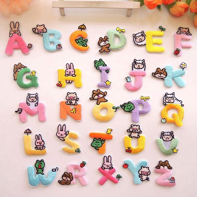 26pcs Cartoon Color Cute Rabbit sheep Letter English Language Applique Iron  on Patch Kid's Embroidery Admission