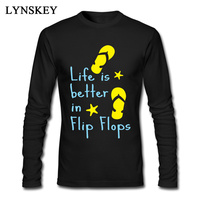 Life Is Better In Flip Flops Tops Tees Mens Funny Cool Long Sleeve 100 Cotton Slim