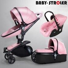 3 en 1 de alta calidad 2 en 1 cochecitos de bebé Aulon relata cuero de dos vías amortiguadores cochecito de bebé de coche de bebé carro de la carretilla rosa
