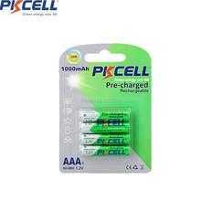 PKcell 4 pièces/par carte NIMH AAA batterie batteries rechargeables 1000mah préchargées plus de 1000 fois circel