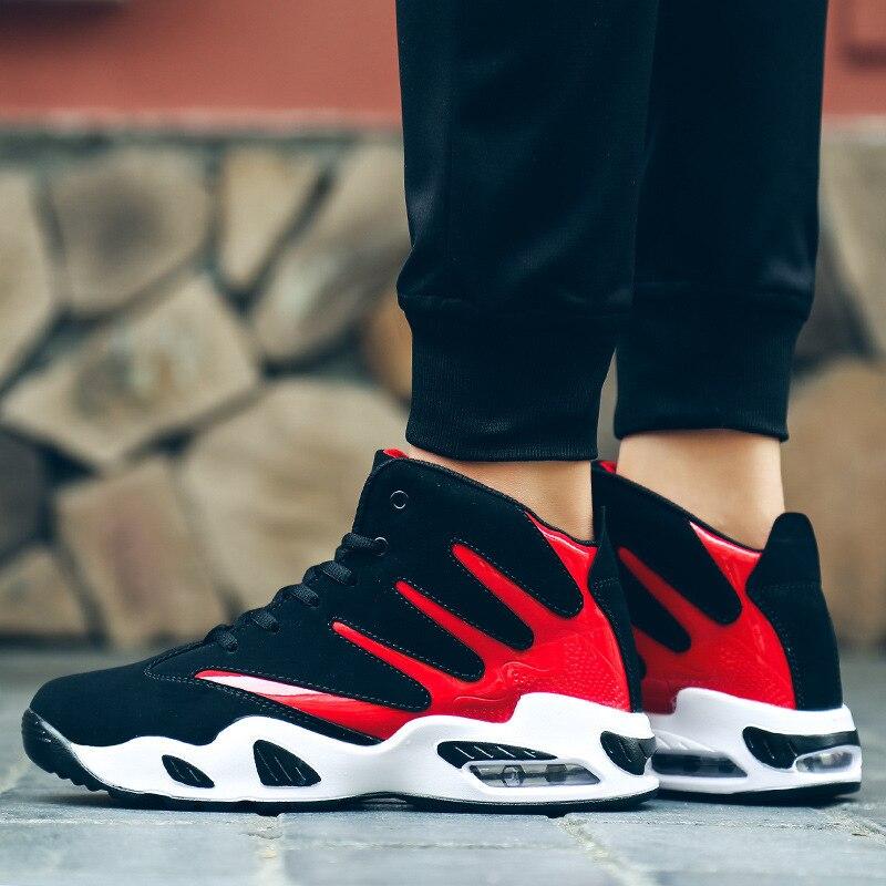 Moda De branco Esportes Salto Casuais Amortecimento Alto Sapatos Correndo Almofada vermelho Azul HH5ZqrPwB
