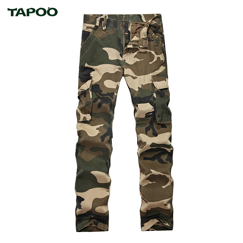 TAPOO Camouflage Straight Male Casual Blue Pants for Mens