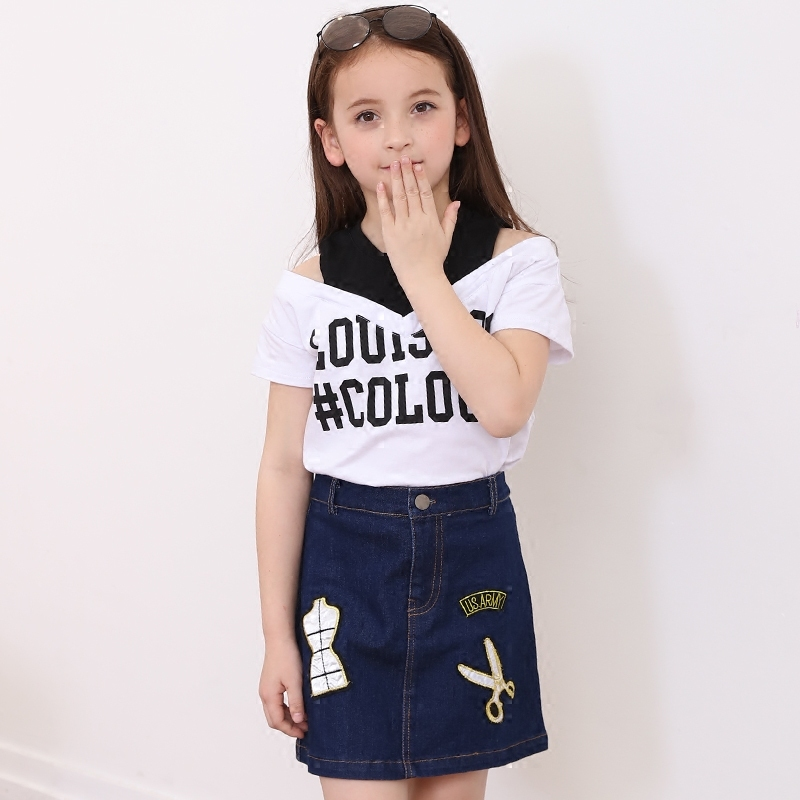 3bc5cc25ff5f Children's Clothing Girl Summer Suit 2018 Off-Shoulder Top Tees Jeans  Skirts Trendy Two-