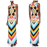 ladies fashion style color printed sleeveless extended Italian brand jersey silk dress