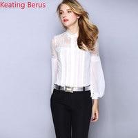 2019 Women's Silk Shirt Professional Wear Commuter Women's White Black Lotus Leaf Collar Lace Sexy Loose Mature Shirt 1219