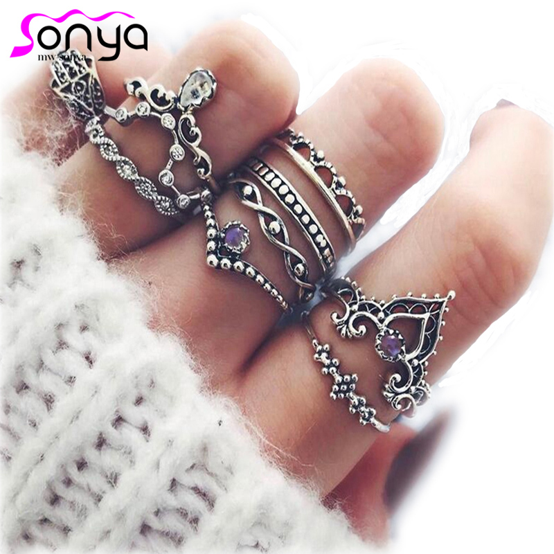 MWsonya 10pcs/lot Vintage Ring Set for Women Engagement Party Accessories Carved Hollow Personalized Women Jewelry 3D5008