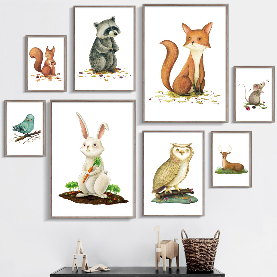 Watercolor Fox Deer Bear Bunny Pig Nordic Posters And Prints Wall Art Canvas Painting Nursery Pictures Baby Kids Room Decor