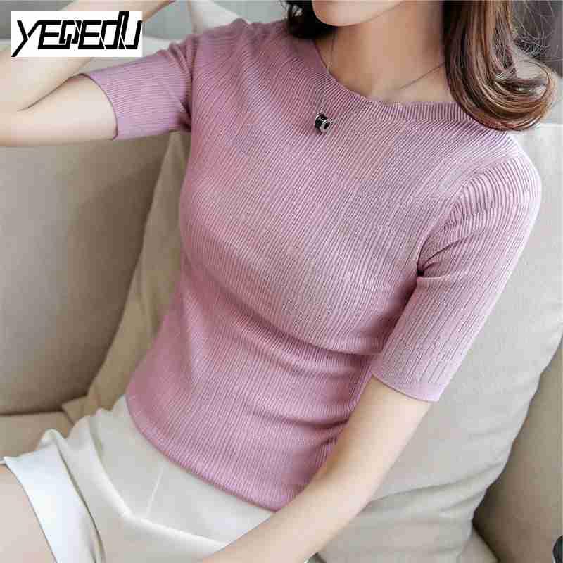 #1806 de Corea 2017 Verano color Sólido Delgado de manga Corta de Punto mujeres