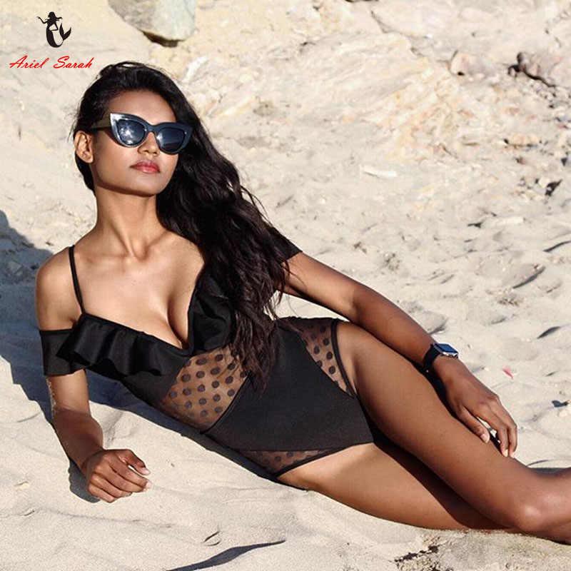 Ariel Sarah 2018 nouveau Monokini une pièce Maillot De Bain maillots De Bain femmes noir maille Maillot De Bain femmes Maillot De Bain Femme MonokiniQ075