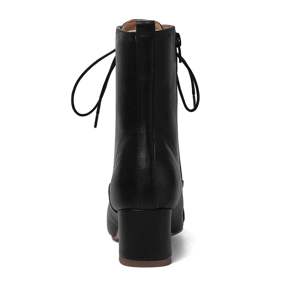 ของแท้หนังส้นรองเท้าฤดูใบไม้ร่วงรองเท้าผู้หญิงคุณภาพสูง lace up elegant ข้อเท้ารองเท้าผู้หญิงรองเท้าผู้หญิง
