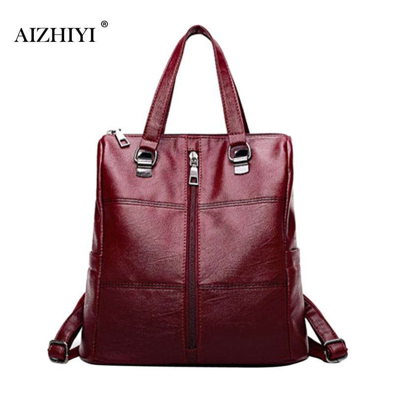 Women Travel Backpack New Preppy Style Student School bag Solid Backpacks for Teenage Girls PU Casual Zipper Shoulder Schoolbags