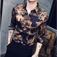 Mens 2019 Men Gold Shirts Social Club Shirt Autumn Luxury Baroque Shirts Slim Fit Black Gold Mens Designer Shirts Camisa Masculi