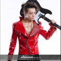 HOT 2015 NEW Korean personality men clothing Bar nightclub DJ Rock men singer costumes rivets leather jacket tide
