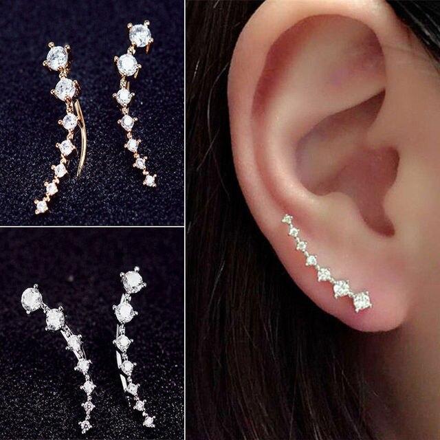 Rhinestone Stud Earrings Gold Silver Cyrstal Long Ear Hook Fine Jewelry Fashion Gift Woman Accessories
