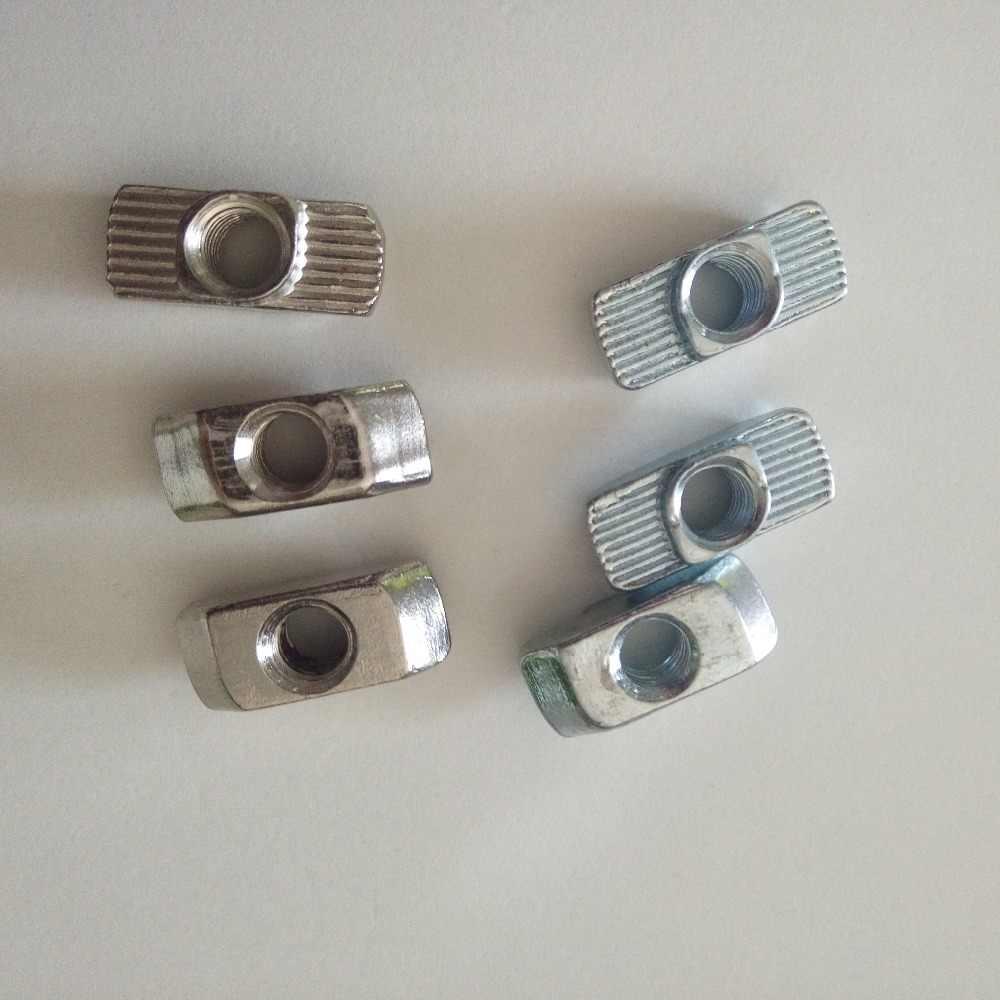 Углеродистая сталь M4/M5/M6/M8 никелированная Т-образная гайка с крепежной головкой для алюминиевого профиля серии 30/40 паз 8 мм