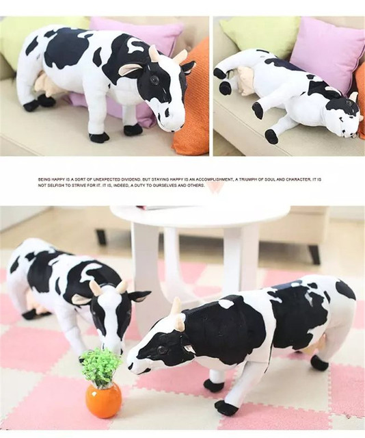 New Soft Toys Animals 70cm Cow Black And White Cattle Stuffed Plush
