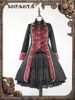 2017 New Autumn Clothing Cosplay Gothic Dress Custom Made Elegant Black Red Coat O