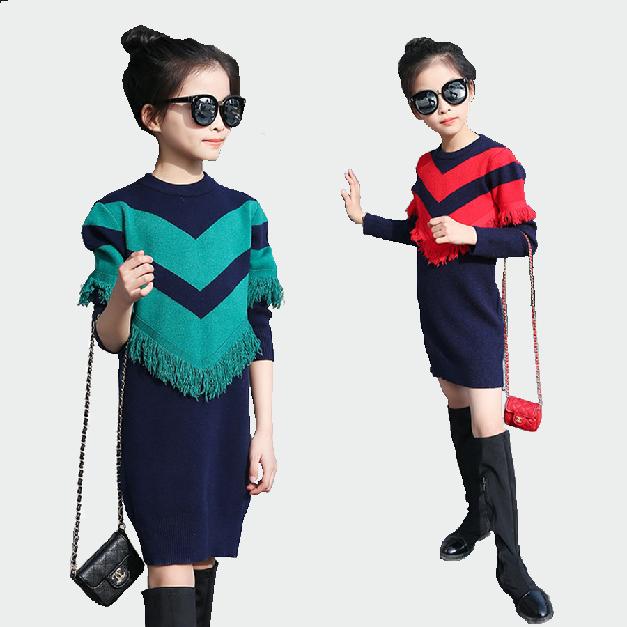 Beautiful crochet dresses for kids trendy - Girls Crochet Dress Spring Plaid Long Sleeve Dresses For Children European Kids Dress Knitted Thick Tassel