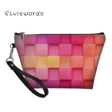 ELVISWORDS Color Printing Cosmetic Bag for Women Makeup Ladies Travel Organizer Beauty Necessaire Feminina