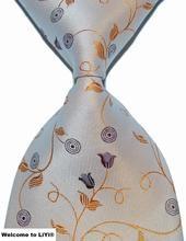 Designer Brand New Classic Tie Floral Light Yellow Jacquard Woven 100% Silk Fashion Business Wedding Party Men's Tie Necktie