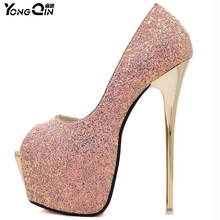 Sexy Discoloration Sequins Women Pumps 16CM High Heels Women Shoes Simple Fine Heels Women's Shoes 3 colors Size 34-40