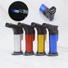 Kitchen Outdoor Barbecue Ignition Windproof Cigar Lighter Metal Torch Spray Gun Butane Refillable Gas Lighter Blue Flame стоимость