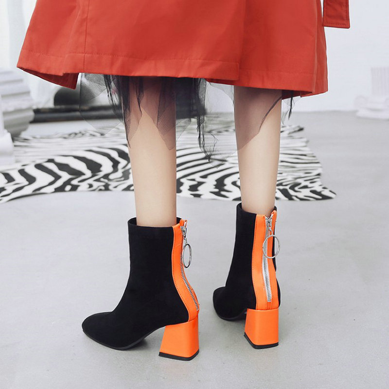 Sianie Tianie contrast color orange black block high heels shoes woman stretch fabric women ankle boots socks booties size 45 46