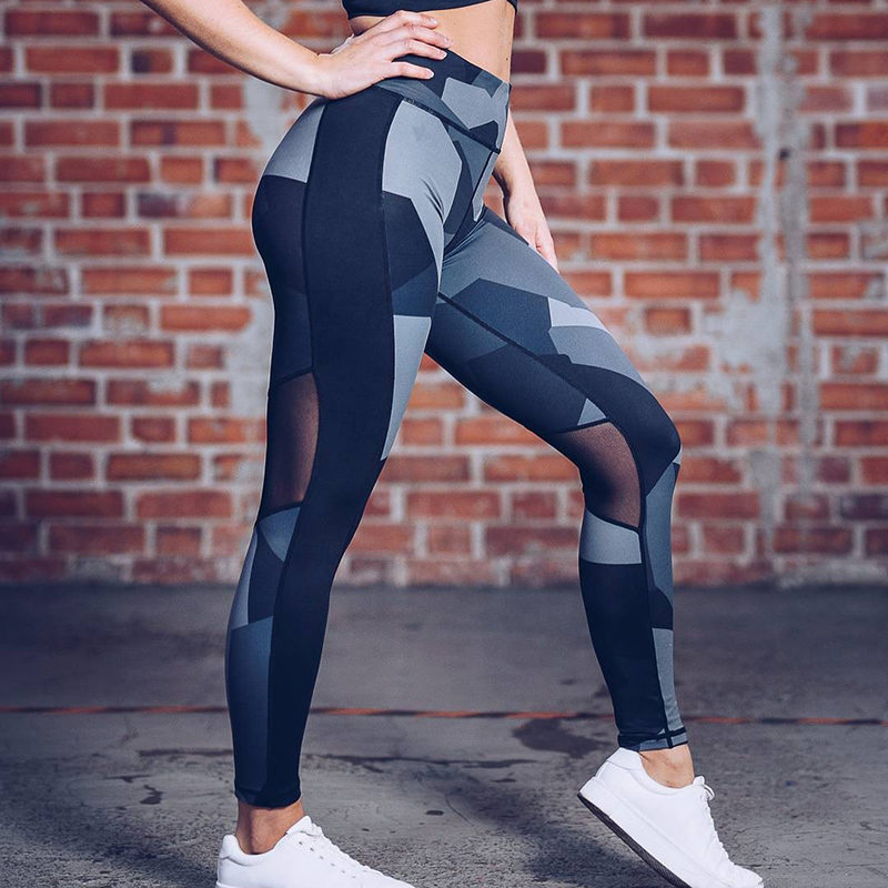 New Print   Leggings   Fitness   Legging   Geometric honeycomb digital printing high waist Hip breathable polyester Women   Leggings