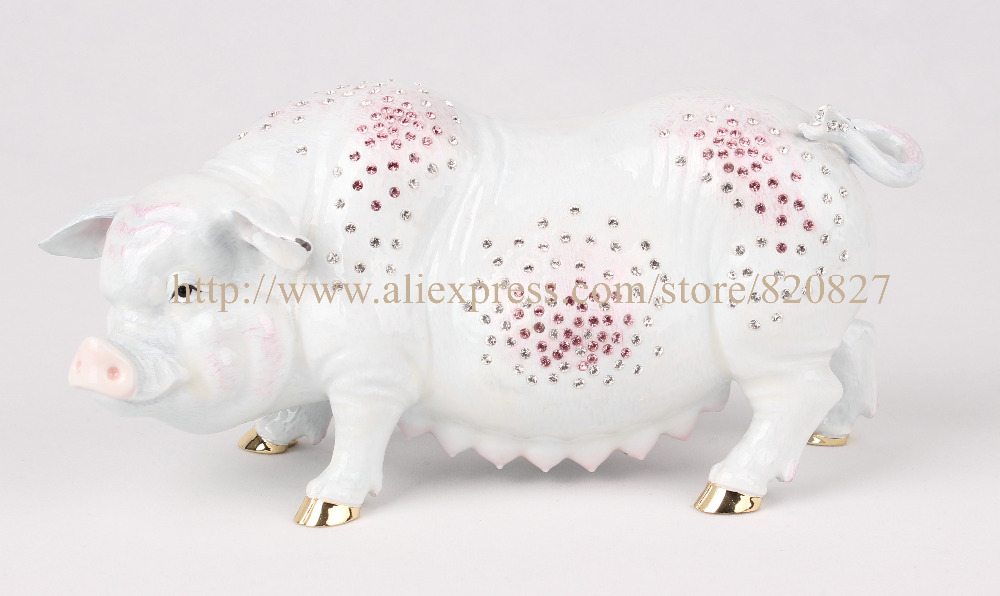 Large Pig Metal Trinket Jewelry Pill Box Money Giant New Piggy Banks Pigs Decorative Large Big Home Display Craft