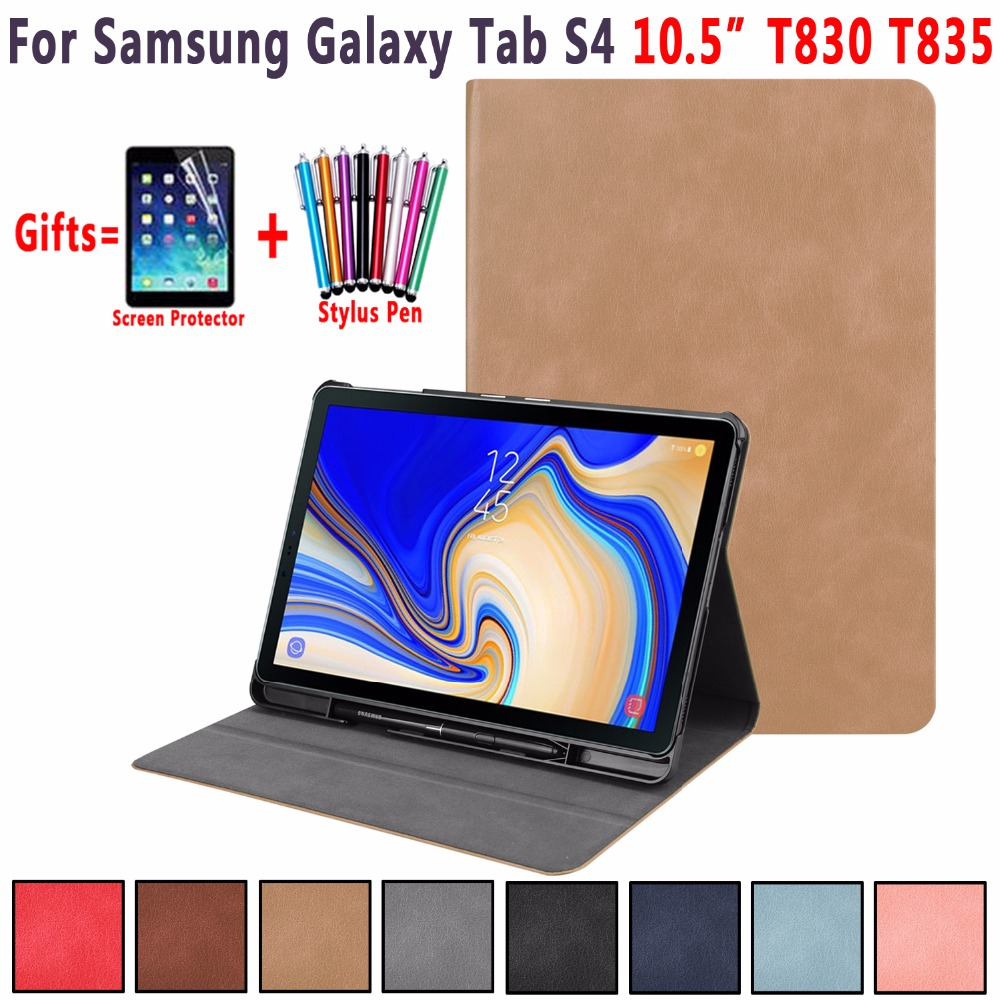 Premium Leather Case for Samsung Galaxy Tab S4 10.5  T830 T835 SM-T830 Smart Awake Sleep Cover with Pencil Slot Funda CoquePremium Leather Case for Samsung Galaxy Tab S4 10.5  T830 T835 SM-T830 Smart Awake Sleep Cover with Pencil Slot Funda Coque