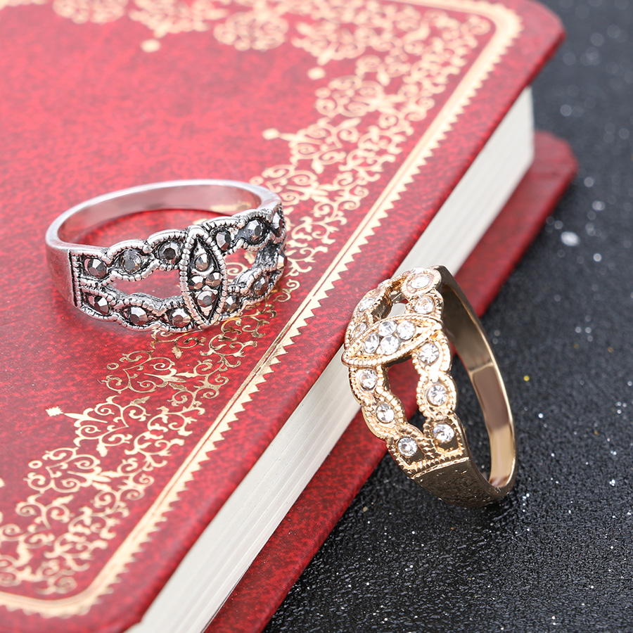 Gold Colour Rhinestone Wedding Ring Vintage Leaf Boho Style Fine ...