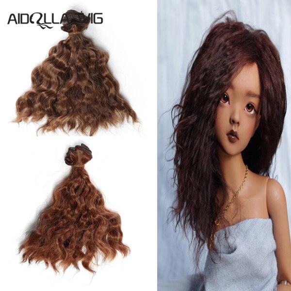 Aidolla bjd peruca 15*100 cm boneca cabelo para 1/3 1/4 1/6 cor natural cabelo encaracolado boneca peruca bjd diy
