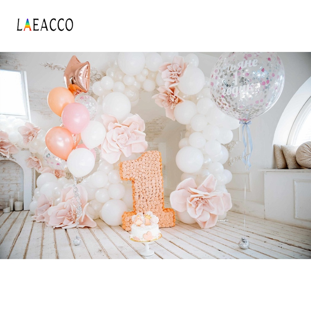 Laeacco Baby 1ST Birthday Party Photo Backdrop Balloon Photography Background Customized Photographic Backdrops For Studio
