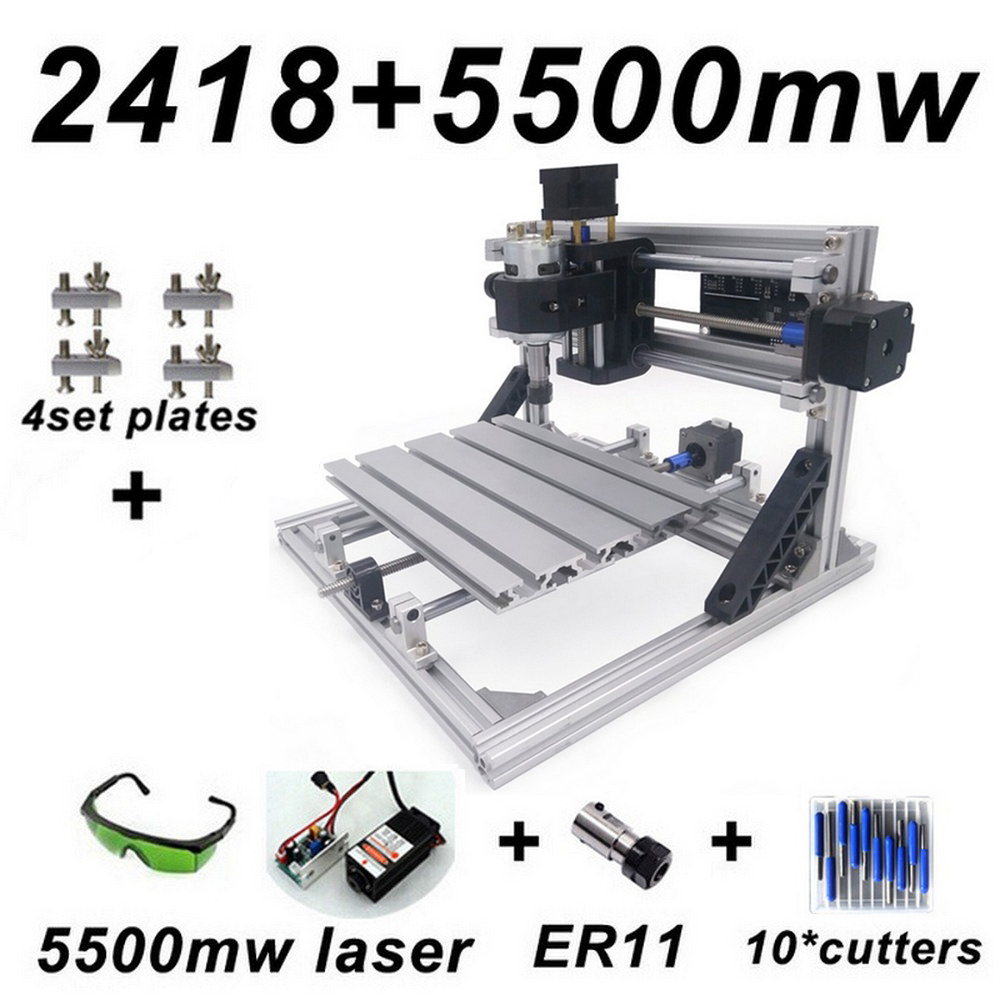 CNC 2418 Mill Laser Engraving Machine with 2500mw Head ER11 Wood Router PCB PVC Milling Machine